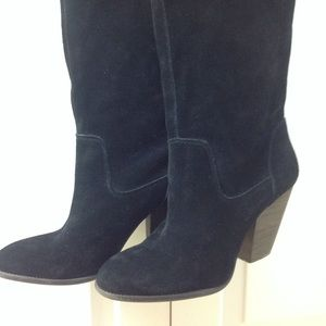 Shoes - Black suede tall boots 9.5.